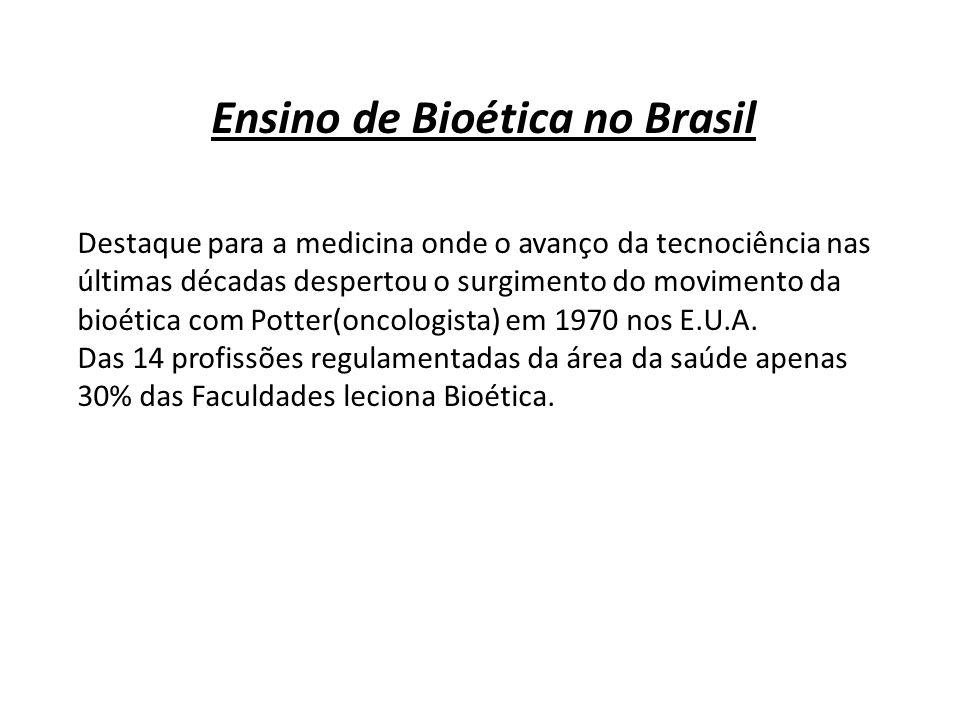 Ensino de Bioética no Brasil Destaque para a medicina onde o avanço da tecnociência nas últimas décadas despertou o surgimento do movimento da bioétic