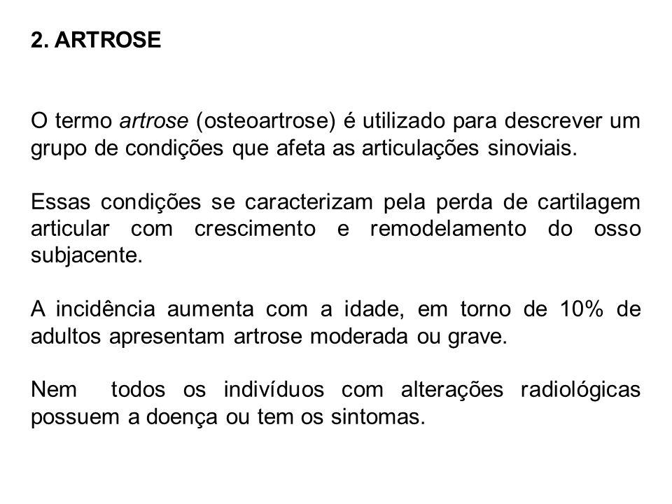 2. ARTROSE O termo artrose (osteoartrose) é utilizado para descrever um grupo de condições que afeta as articulações sinoviais. Essas condições se car