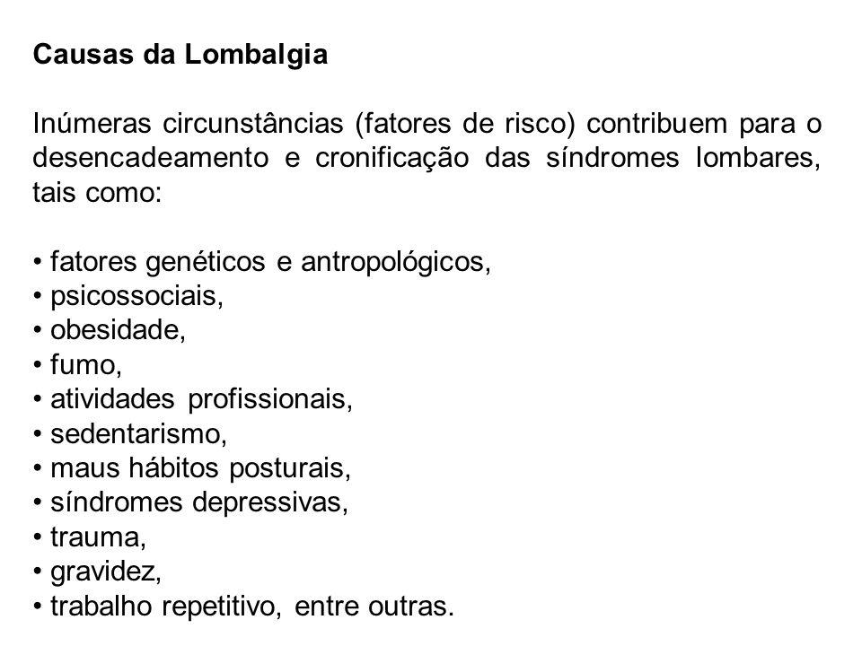 Causas da Lombalgia Inúmeras circunstâncias (fatores de risco) contribuem para o desencadeamento e cronificação das síndromes lombares, tais como: fat