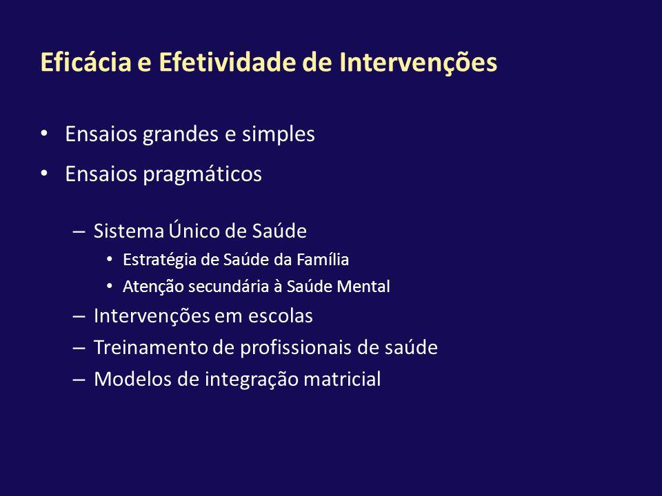 Eficácia e Efetividade de Intervenções Ensaios grandes e simples Ensaios pragmáticos – Sistema Único de Saúde Estratégia de Saúde da Família Atenção s