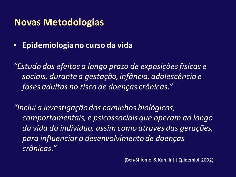 Novas Metodologias Epidemiologia no curso da vida Estudo dos efeitos a longo prazo de exposições físicas e sociais, durante a gestação, infância, adol