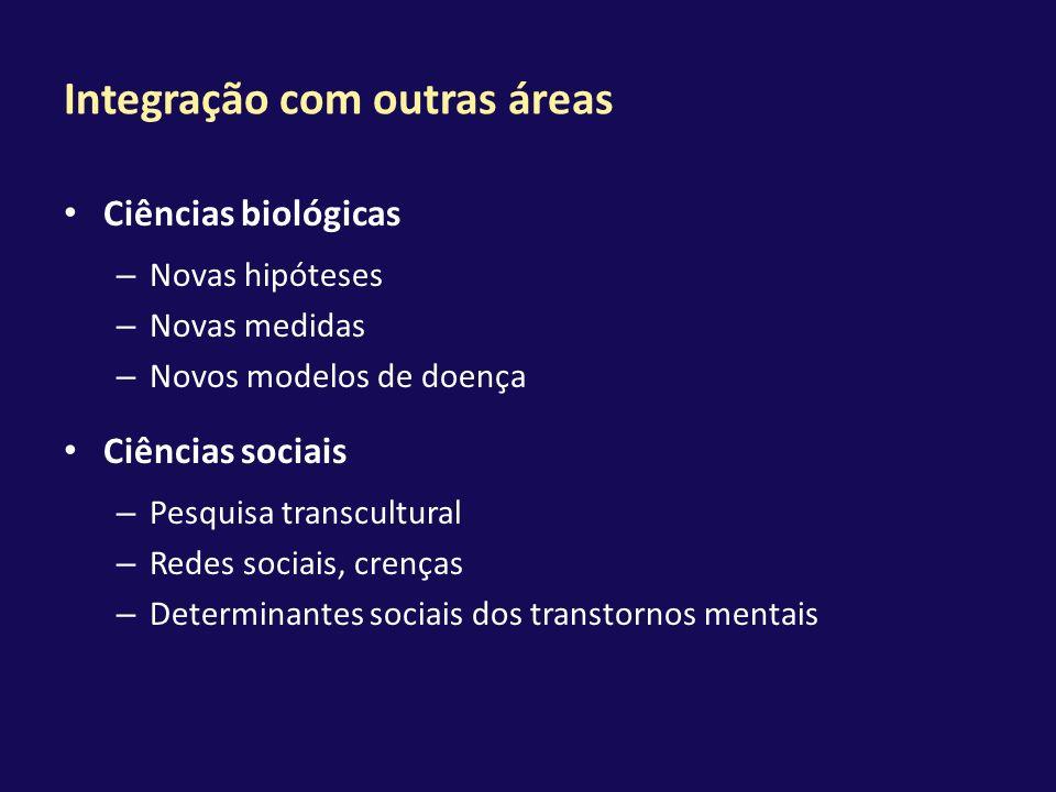 Integração com outras áreas Ciências biológicas – Novas hipóteses – Novas medidas – Novos modelos de doença Ciências sociais – Pesquisa transcultural