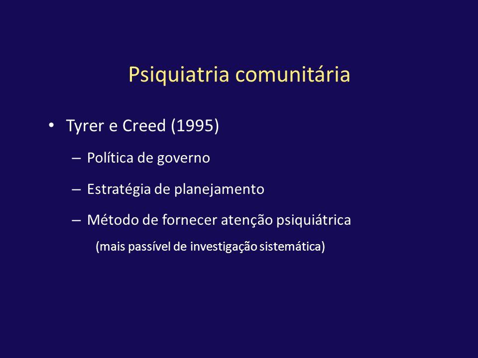 Psiquiatria comunitária Tyrer e Creed (1995) – Política de governo – Estratégia de planejamento – Método de fornecer atenção psiquiátrica (mais passív