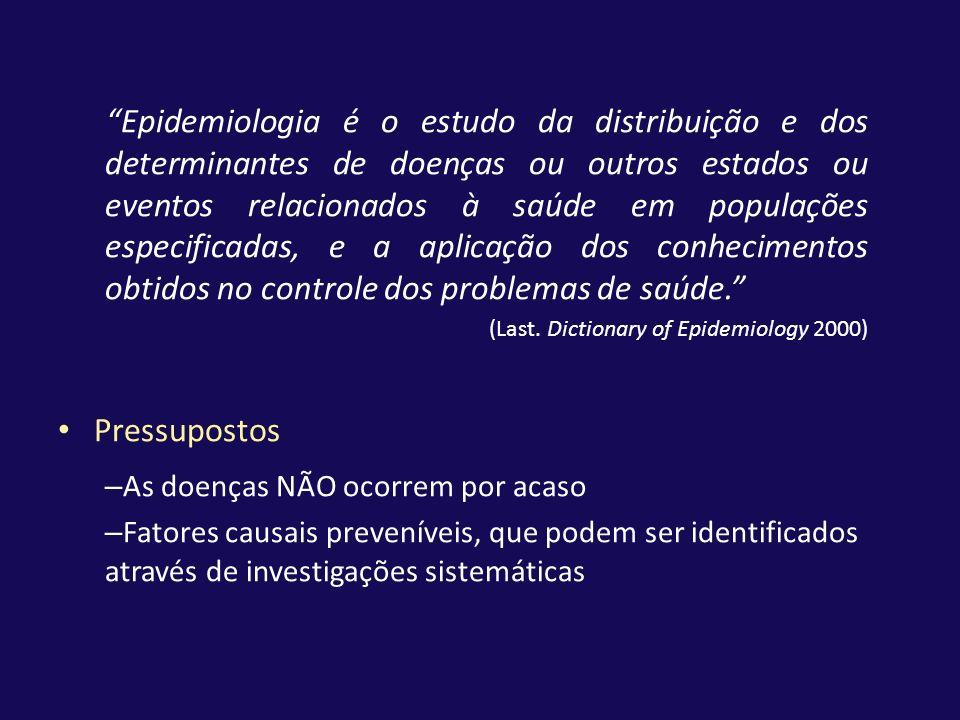 Epidemiologia é o estudo da distribuição e dos determinantes de doenças ou outros estados ou eventos relacionados à saúde em populações especificadas,