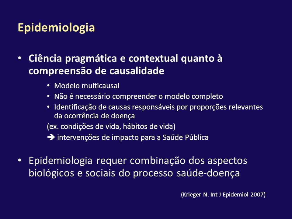 Epidemiologia Ciência pragmática e contextual quanto à compreensão de causalidade Modelo multicausal Não é necessário compreender o modelo completo Id