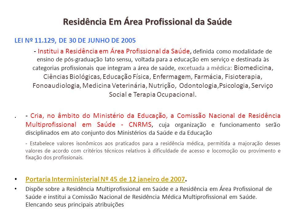 Residência Em Área Profissional da Saúde LEI Nº 11.129, DE 30 DE JUNHO DE 2005 - Institui a Residência em Área Profissional da Saúde, definida como mo