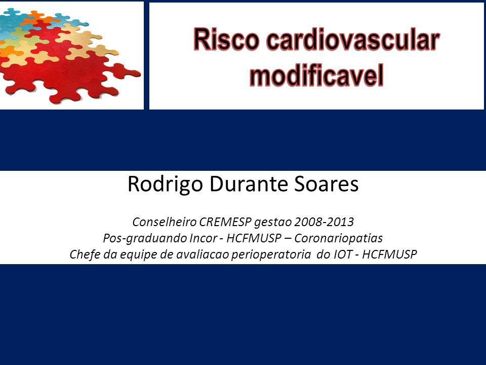 Rodrigo Durante Soares Conselheiro CREMESP gestao 2008-2013 Pos-graduando Incor - HCFMUSP – Coronariopatias Chefe da equipe de avaliacao perioperatori