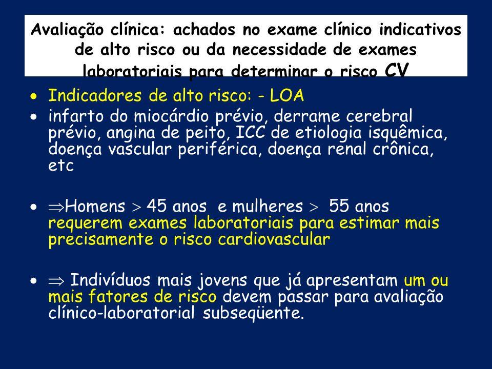 Avaliação clínica: achados no exame clínico indicativos de alto risco ou da necessidade de exames laboratoriais para determinar o risco CV Indicadores