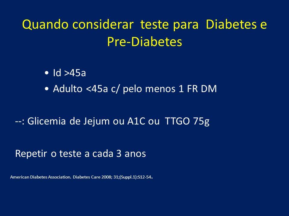 Quando considerar teste para Diabetes e Pre-Diabetes Id >45a Adulto <45a c/ pelo menos 1 FR DM --: Glicemia de Jejum ou A1C ou TTGO 75g Repetir o test