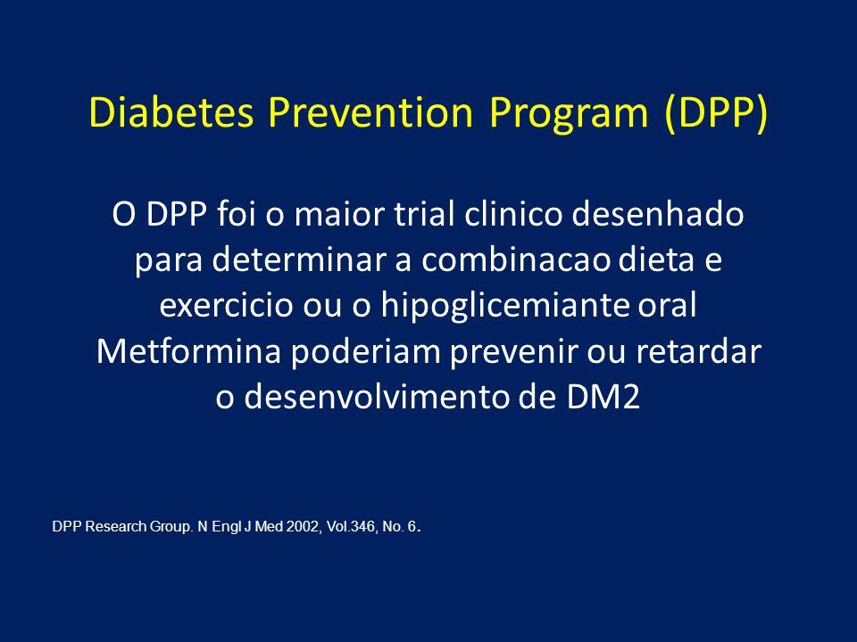 O DPP foi o maior trial clinico desenhado para determinar a combinacao dieta e exercicio ou o hipoglicemiante oral Metformina poderiam prevenir ou ret