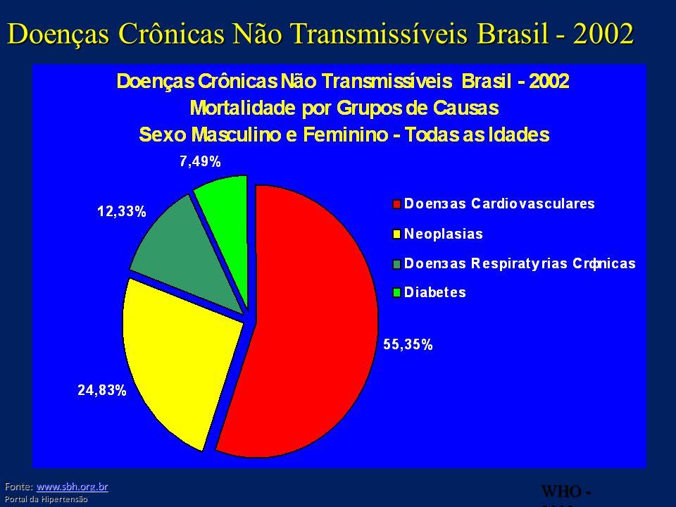 WHO - 2002 Doenças Crônicas Não Transmissíveis Brasil - 2002 Fonte: www.sbh.org.br www.sbh.org.br Portal da Hipertensão