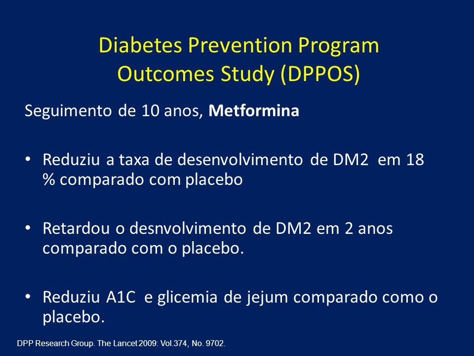 Diabetes Prevention Program Outcomes Study (DPPOS) Seguimento de 10 anos, Metformina Reduziu a taxa de desenvolvimento de DM2 em 18 % comparado com pl