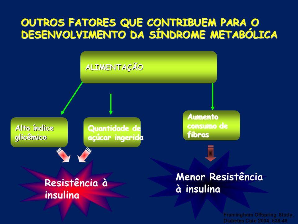 OUTROS FATORES QUE CONTRIBUEM PARA O DESENVOLVIMENTO DA SÍNDROME METABÓLICA ALIMENTAÇÃO Aumento consumo de fibras Quantidade de açúcar ingerida Alto í