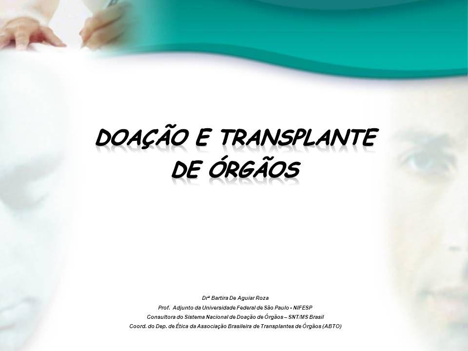 Drª Bartira De Aguiar Roza Prof. Adjunto da Universidade Federal de São Paulo - NIFESP Consultora do Sistema Nacional de Doação de Órgãos – SNT/MS Bra