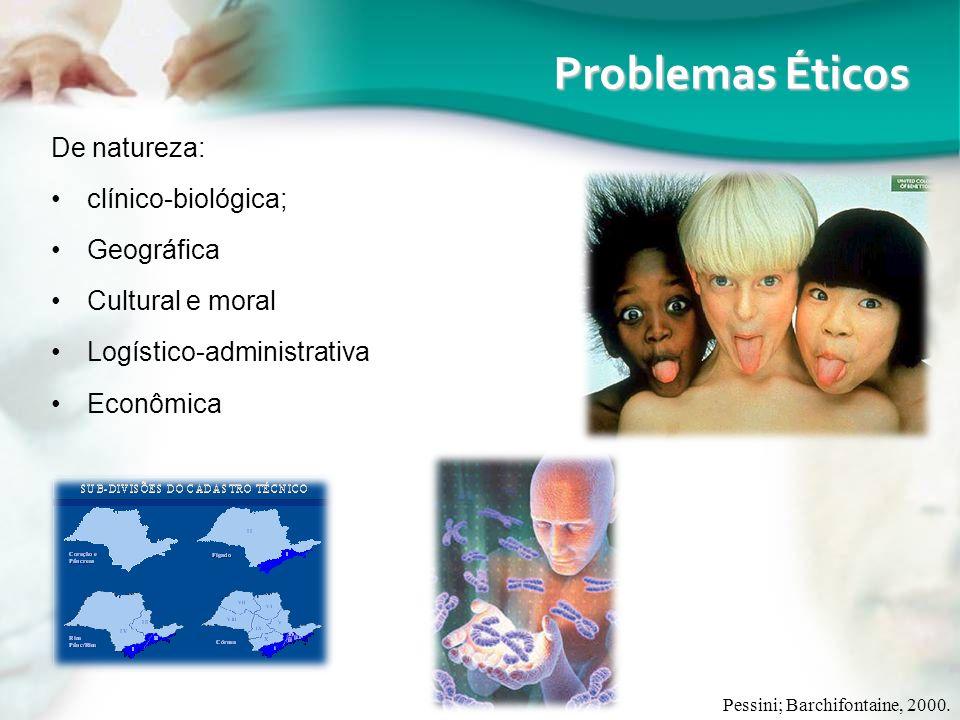 De natureza: clínico-biológica; Geográfica Cultural e moral Logístico-administrativa Econômica Pessini; Barchifontaine, 2000. Problemas Éticos