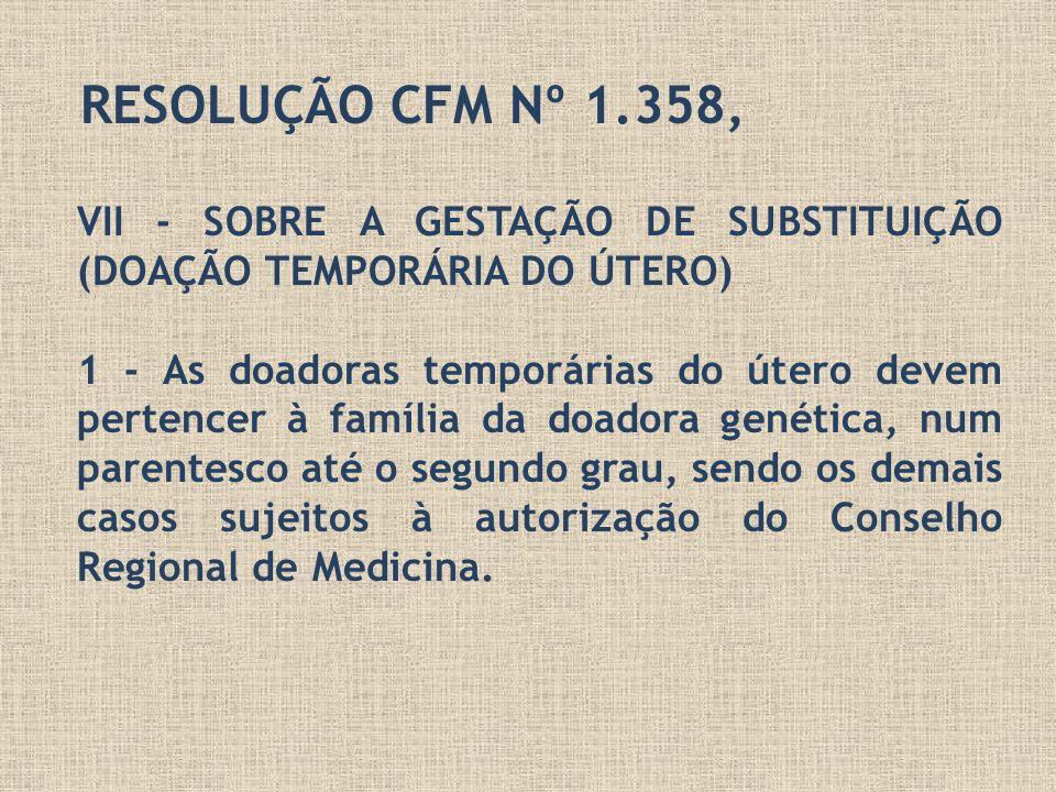 RESOLUÇÃO CFM Nº 1.358, VII - SOBRE A GESTAÇÃO DE SUBSTITUIÇÃO (DOAÇÃO TEMPORÁRIA DO ÚTERO) 1 - As doadoras temporárias do útero devem pertencer à fam
