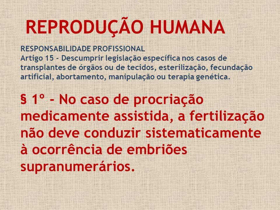 RESPONSABILIDADE PROFISSIONAL Artigo 15 - Descumprir legislação específica nos casos de transplantes de órgãos ou de tecidos, esterilização, fecundaçã