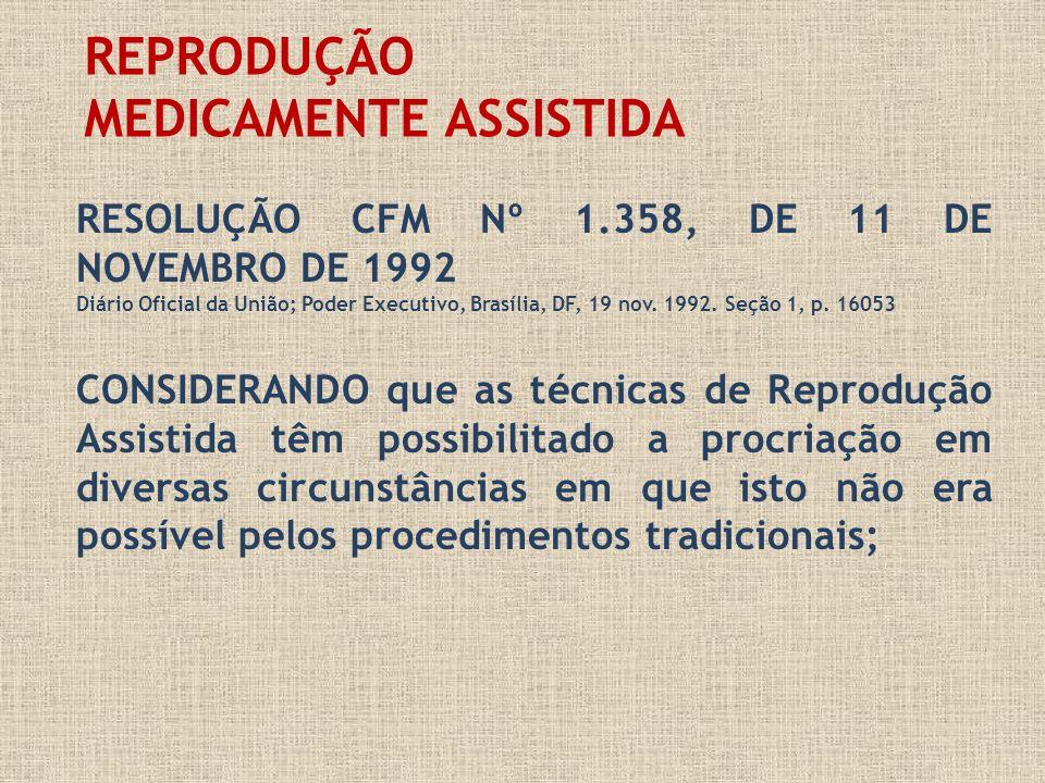 REPRODUÇÃO MEDICAMENTE ASSISTIDA RESOLUÇÃO CFM Nº 1.358, DE 11 DE NOVEMBRO DE 1992 Diário Oficial da União; Poder Executivo, Brasília, DF, 19 nov. 199