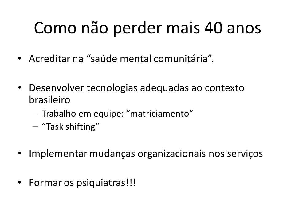 Como não perder mais 40 anos Acreditar na saúde mental comunitária. Desenvolver tecnologias adequadas ao contexto brasileiro – Trabalho em equipe: mat