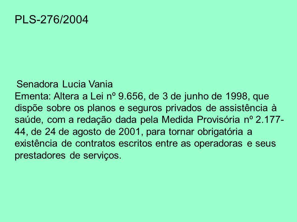 PLS-276/2004 Senadora Lucia Vania Ementa: Altera a Lei nº 9.656, de 3 de junho de 1998, que dispõe sobre os planos e seguros privados de assistência à saúde, com a redação dada pela Medida Provisória nº 2.177- 44, de 24 de agosto de 2001, para tornar obrigatória a existência de contratos escritos entre as operadoras e seus prestadores de serviços.