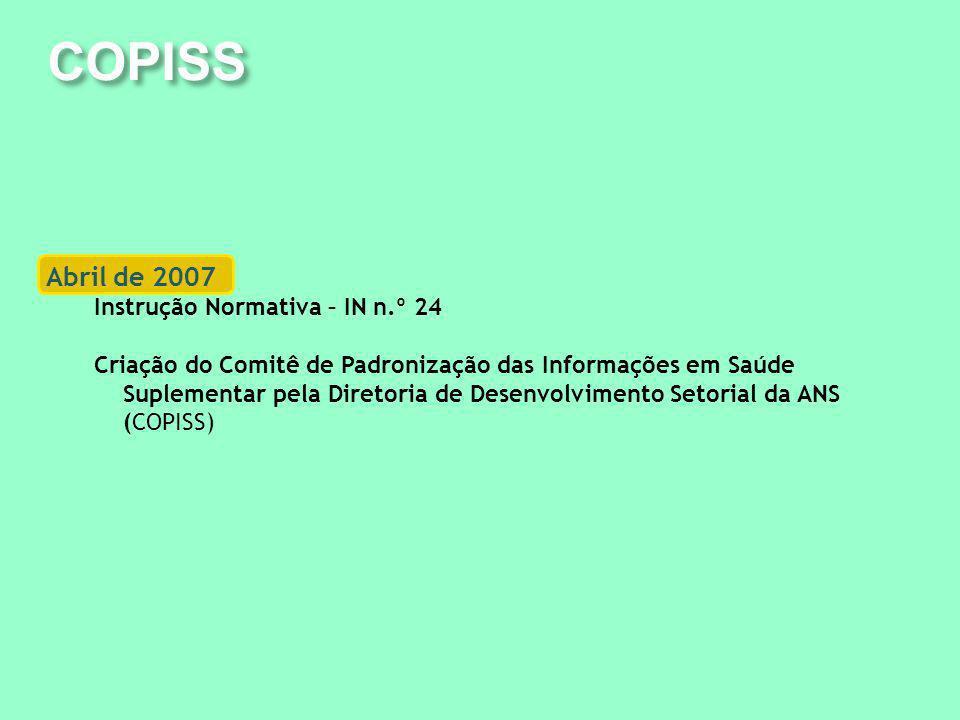 COPISS Abril de 2007 Instrução Normativa – IN n.º 24 Criação do Comitê de Padronização das Informações em Saúde Suplementar pela Diretoria de Desenvolvimento Setorial da ANS (COPISS)