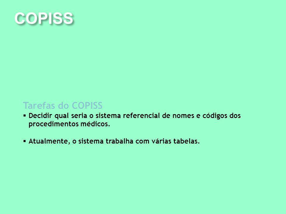 COPISS Tarefas do COPISS Decidir qual seria o sistema referencial de nomes e códigos dos procedimentos médicos. Atualmente, o sistema trabalha com vár