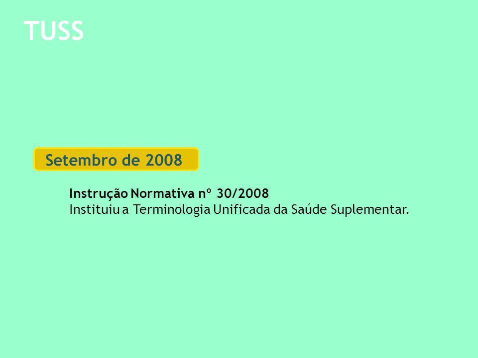 TUSS Setembro de 2008 Instrução Normativa nº 30/2008 Instituiu a Terminologia Unificada da Saúde Suplementar.