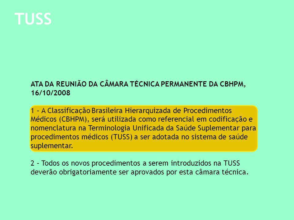 TUSS Ajuste técnico - c ompatibilização : Rol da ANS, CBHPM e TUSS