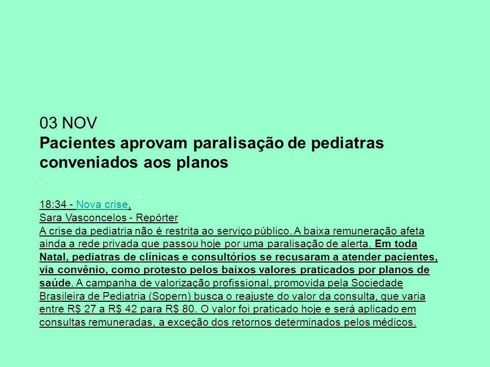 03 NOV Pacientes aprovam paralisação de pediatras conveniados aos planos 18:34 - Nova crise,Nova crise Sara Vasconcelos - Repórter A crise da pediatria não é restrita ao serviço público.