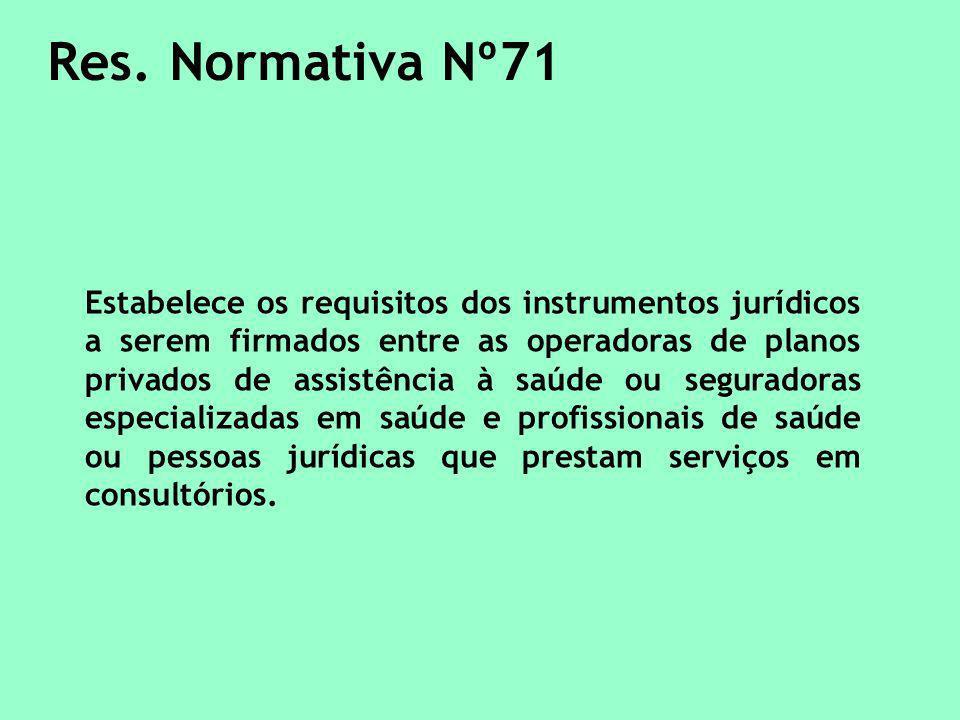 Res. Normativa Nº71 Estabelece os requisitos dos instrumentos jurídicos a serem firmados entre as operadoras de planos privados de assistência à saúde