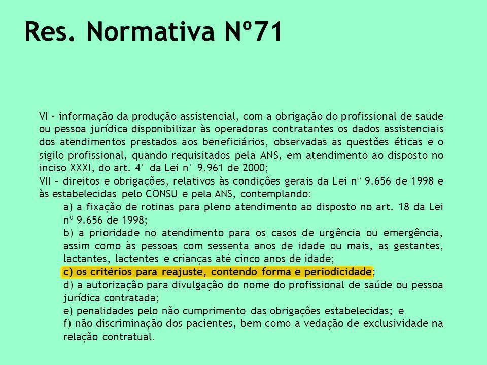 Res. Normativa Nº71 VI – informação da produção assistencial, com a obrigação do profissional de saúde ou pessoa jurídica disponibilizar às operadoras