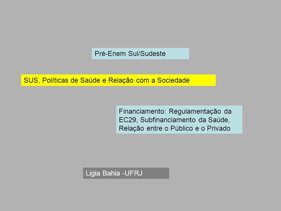 SUS, Políticas de Saúde e Relação com a Sociedade Financiamento: Regulamentação da EC29, Subfinanciamento da Saúde, Relação entre o Público e o Privad