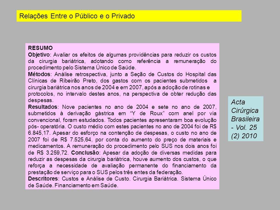 RESUMO Objetivo: Avaliar os efeitos de algumas providências para reduzir os custos da cirurgia bariátrica, adotando como referência a remuneração do p