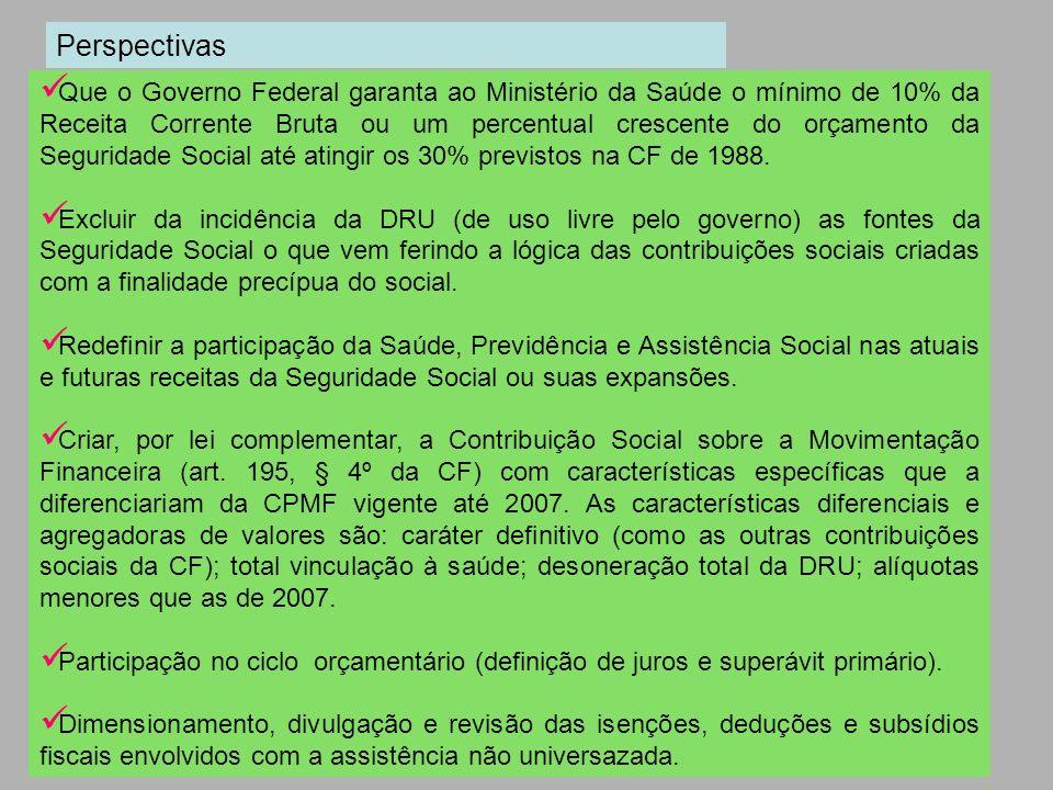 Que o Governo Federal garanta ao Ministério da Saúde o mínimo de 10% da Receita Corrente Bruta ou um percentual crescente do orçamento da Seguridade S