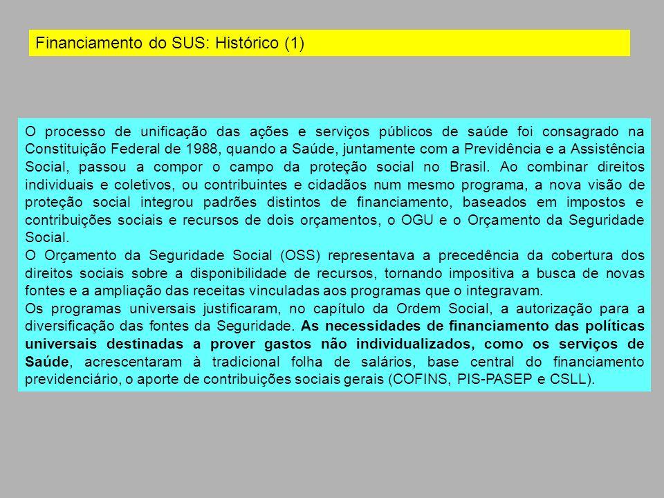 Financiamento do SUS: Histórico (1) O processo de unificação das ações e serviços públicos de saúde foi consagrado na Constituição Federal de 1988, qu