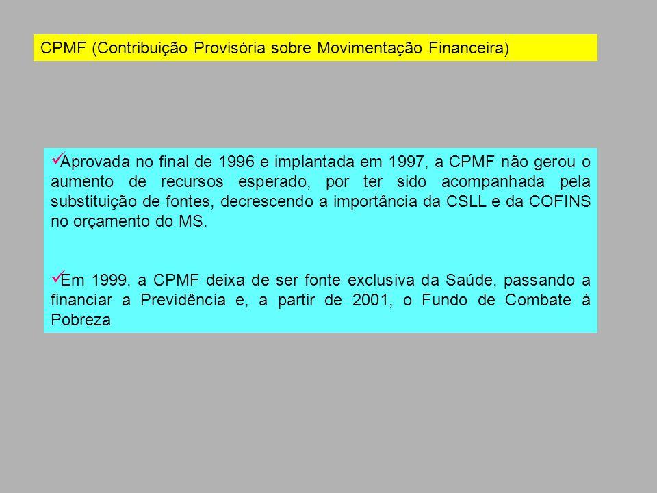 CPMF (Contribuição Provisória sobre Movimentação Financeira) Aprovada no final de 1996 e implantada em 1997, a CPMF não gerou o aumento de recursos es