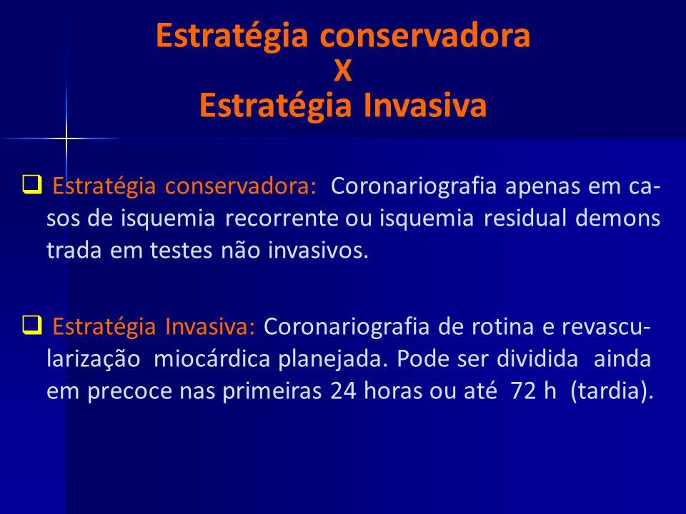 Estratégia conservadora X Estratégia Invasiva Estratégia conservadora: Coronariografia apenas em ca- sos de isquemia recorrente ou isquemia residual d