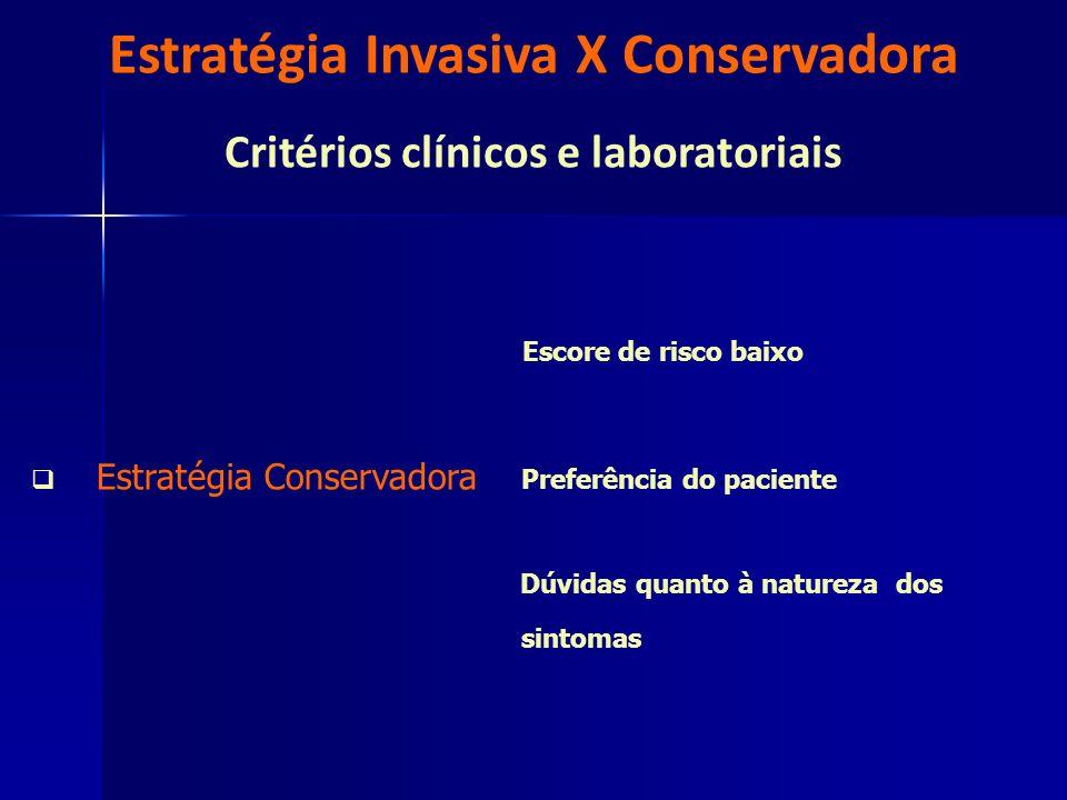 Estratégia Invasiva X Conservadora Critérios clínicos e laboratoriais Escore de risco baixo Estratégia Conservadora Preferência do paciente Dúvidas qu