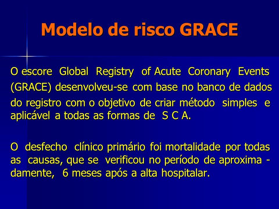 Modelo de risco GRACE O escore Global Registry of Acute Coronary Events (GRACE) desenvolveu-se com base no banco de dados do registro com o objetivo d