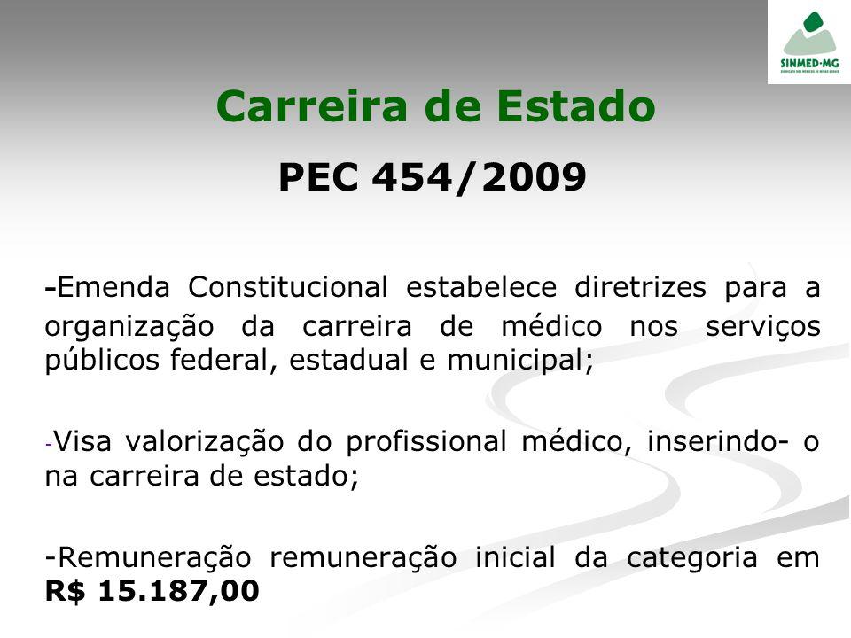 Carreira de Estado PEC 454/2009 - Emenda Constitucional estabelece diretrizes para a organização da carreira de médico nos serviços públicos federal,
