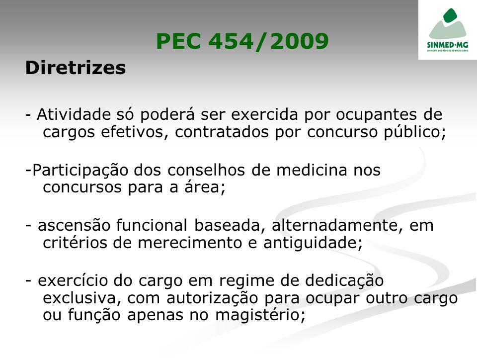 PEC 454/2009 Diretrizes - Atividade só poderá ser exercida por ocupantes de cargos efetivos, contratados por concurso público; -Participação dos conse
