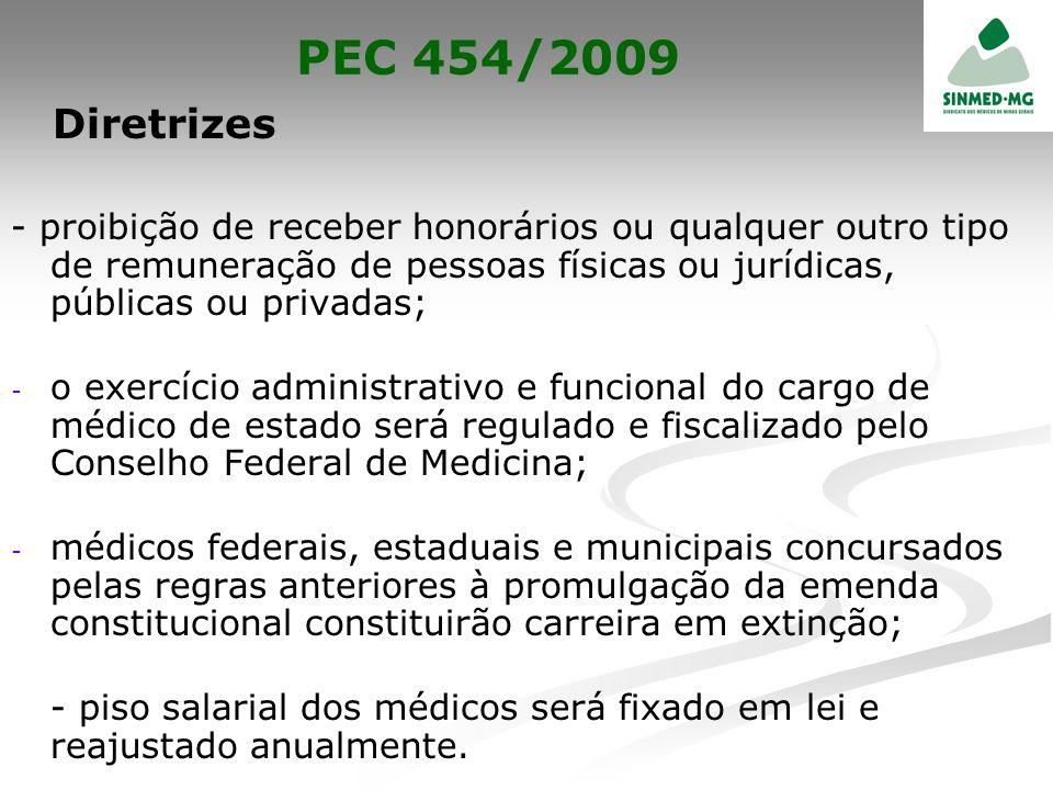 PEC 454/2009 Diretrizes - proibição de receber honorários ou qualquer outro tipo de remuneração de pessoas físicas ou jurídicas, públicas ou privadas;