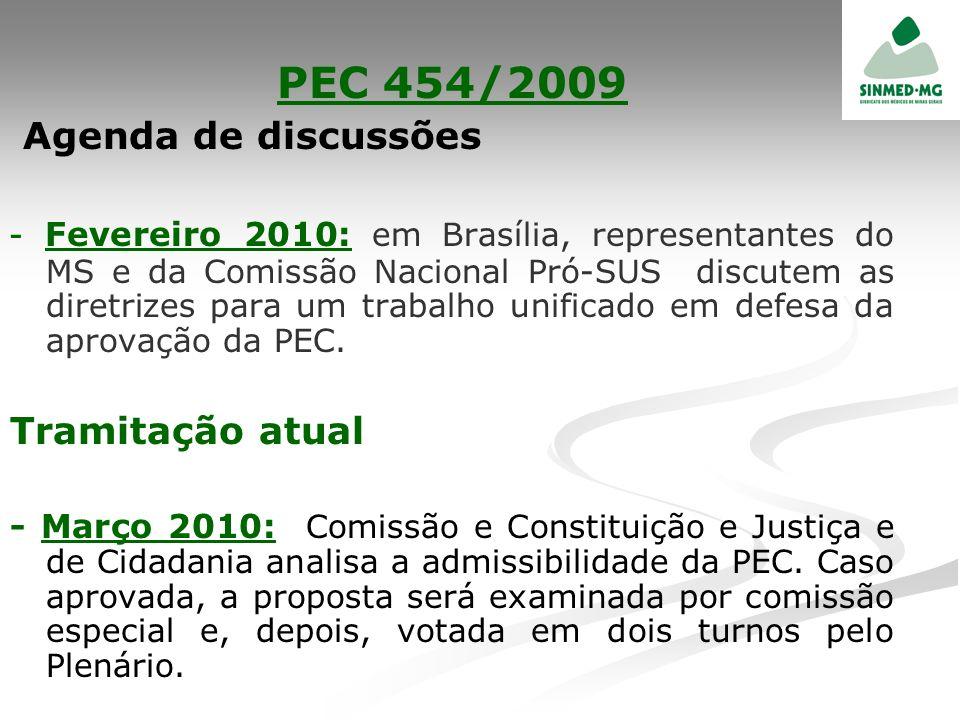 PEC 454/2009 Agenda de discussões - Fevereiro 2010: em Brasília, representantes do MS e da Comissão Nacional Pró-SUS discutem as diretrizes para um tr