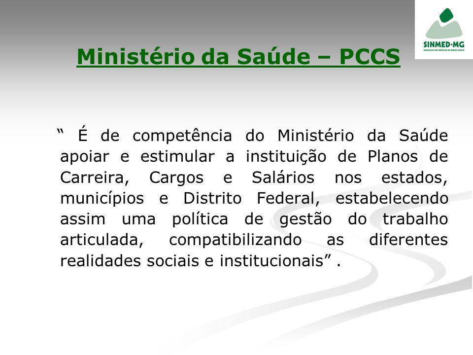 Ministério da Saúde – PCCS É de competência do Ministério da Saúde apoiar e estimular a instituição de Planos de Carreira, Cargos e Salários nos estad