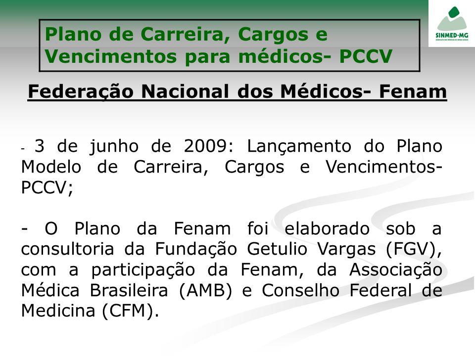 Plano de Carreira, Cargos e Vencimentos para médicos- PCCV Federação Nacional dos Médicos- Fenam - 3 de junho de 2009: Lançamento do Plano Modelo de C