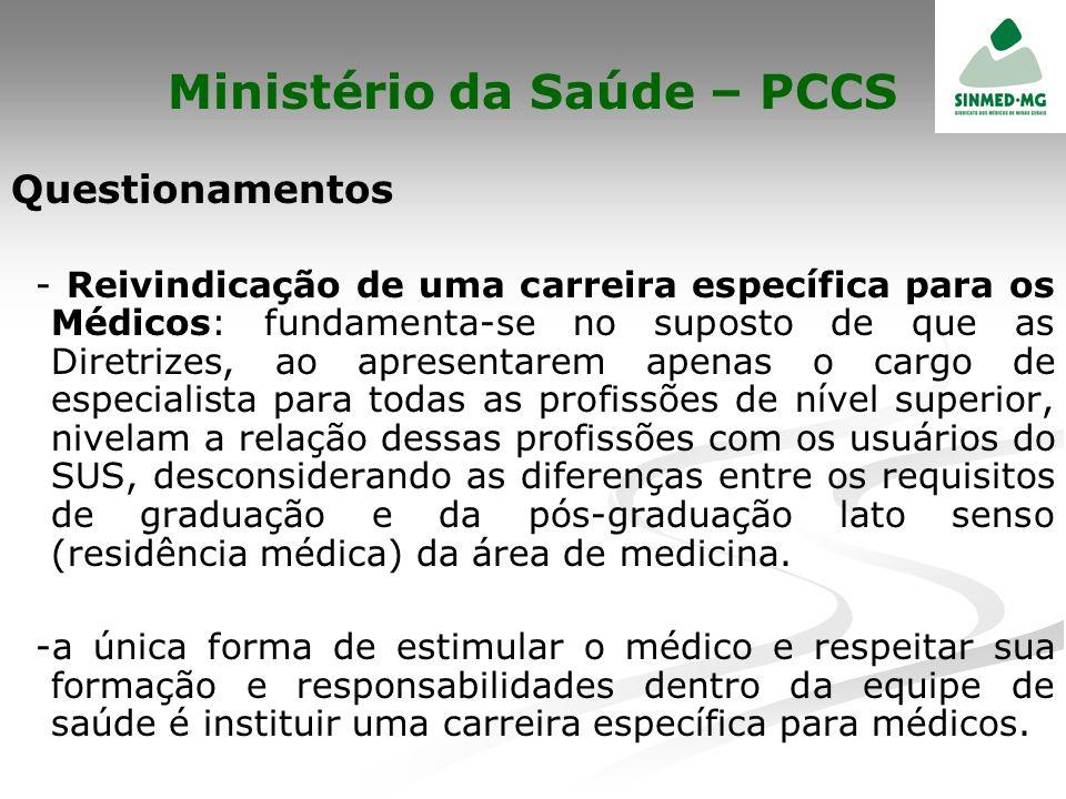 Ministério da Saúde – PCCS Questionamentos - Reivindicação de uma carreira específica para os Médicos: fundamenta-se no suposto de que as Diretrizes,
