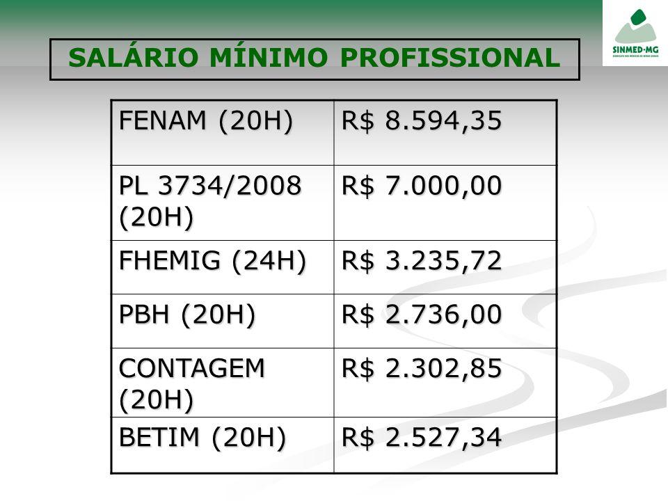 FENAM (20H) R$ 8.594,35 PL 3734/2008 (20H) R$ 7.000,00 FHEMIG (24H) R$ 3.235,72 PBH (20H) R$ 2.736,00 CONTAGEM (20H) R$ 2.302,85 BETIM (20H) R$ 2.527,