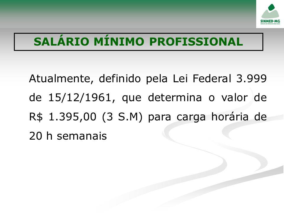 Atualmente, definido pela Lei Federal 3.999 de 15/12/1961, que determina o valor de R$ 1.395,00 (3 S.M) para carga horária de 20 h semanais
