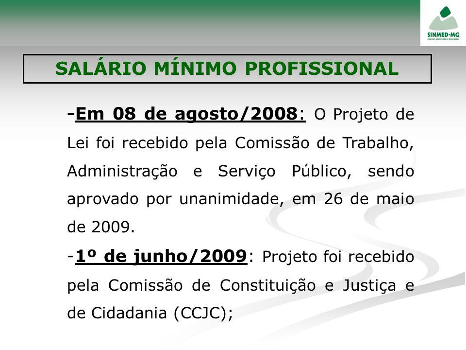 -Em 08 de agosto/2008 : O Projeto de Lei foi recebido pela Comissão de Trabalho, Administração e Serviço Público, sendo aprovado por unanimidade, em 2