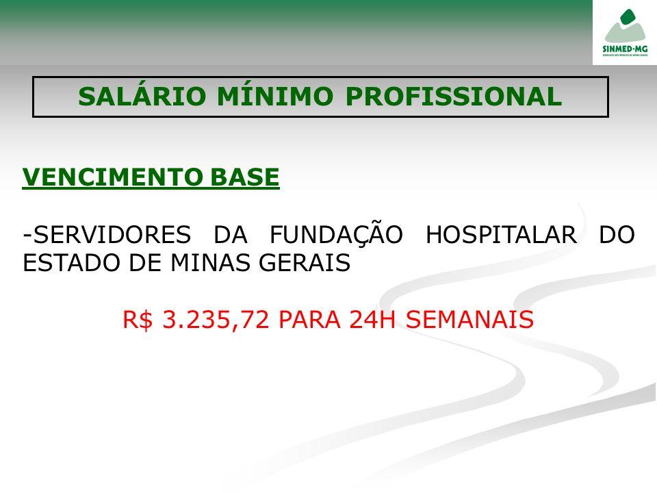 VENCIMENTO BASE -SERVIDORES DA FUNDAÇÃO HOSPITALAR DO ESTADO DE MINAS GERAIS R$ 3.235,72 PARA 24H SEMANAIS SALÁRIO MÍNIMO PROFISSIONAL